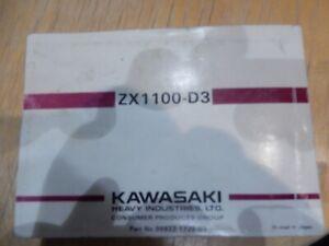 GENUINE Kawasaki ZZ-R1100 ZX1100-D3 OWNERS MANUAL