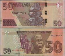Zimbabwe PNew B196 50 Dollars  2020(In 2021) UNC AA prefix  @ EBS