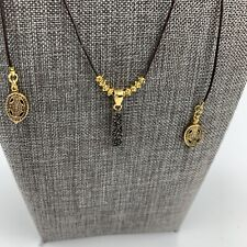 """Black Druzy Leather Chord Lariat Necklace 56"""" Gold Tone Long"""