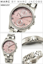 NEW MARC JACOBS HENRY POLISHED SILVER TONE,CRYSTAL,MAUVE,PINK DIAL WATCH MBM3297
