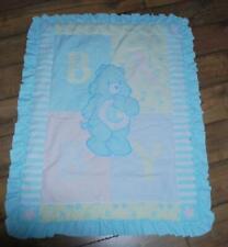 CareBears Baby Comforter Quilt Crib Blue Green Blanket  32x38 Vintage 1980s