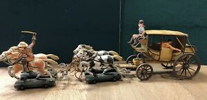Elastolin: An Impressive Stage Coach With Cowboys. 70mm Scale