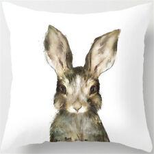 """Bunny Pillow Cover Rabbit Hare Easter Case Cotton Linen Throw 17"""" x 17"""""""