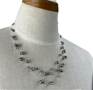 floating crystal necklace illusion mermaid bead choker Invisible single lightning bead necklace