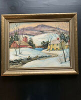 """Vintage """"Farm Landscape In Winter Scene"""" Oil Painting - Signed And Framed 19X15"""
