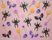 Halloween Nail Art Stickers Decals Neon Skulls Candy Bats Black Spiders 15