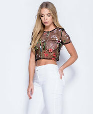 Women Floral Mesh Sheer Embroidered Floral See-through Crop Tops T-Shirt Blouse
