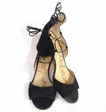 Sam Edelman Serene Women's Black Suede Leather Block Heel Ankle Strap Sz 8.5 New