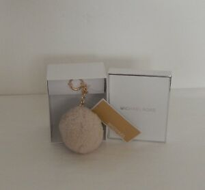 MICHAEL KORS SHEARLING POM KEY CHARM IN GOLD / NATURAL COLOR NWT