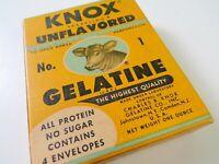 Unopened Vintage Knox Sparkling Unflavored No. 1 Gelatine, 4 envelopes