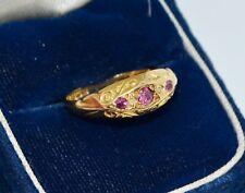 1919 Antique 18ct YELLOW GOLD, Ruby & Diamond Bridge Ring - N / 6.75 - 750 18k