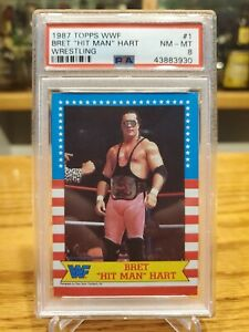 1987 WWF Topps Bret Hit Man Hart Rookie Card #1 In The Set PSA 8 NM Mint