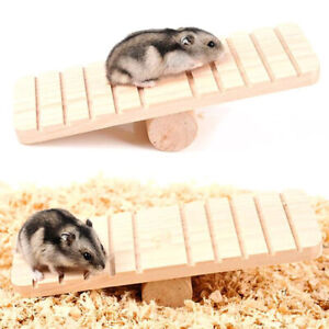Hamster Wood Seesaw Non-slip Molar Sports Exercise Toy Chinchillas Pet Supplies~