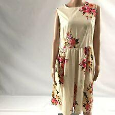 Simple Flavor F35 Womens Dress Floral Elastic Waist Party/Cocktail Beige Size L