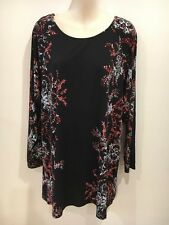 Katie's floral black long sleeved Opened Back top Size 1XL