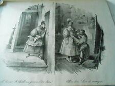 Litho 1833 - Mr Charles aux genoux d'une dame ! &Chien de manequin !
