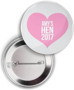 PERSONALISED HEN PARTY BADGES LOVE HEART HEN NIGHT PARTY BADGES HEART HEN BADGES