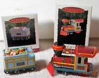 Vintage Hallmark Tin Train #1-2 in Yuletide Central Series Christmas Ornaments