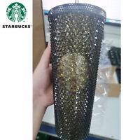 2020 Starbucks China Black Gold Slick Diamond Studded Tumbler Straw Cup 24oz