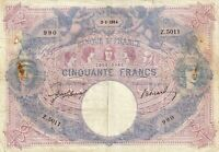50 Francs 1914 BLEU ET ROSE FRANCE F.14.27 - pr.TTB