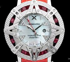 New Xoskeleton Superlative Star 41mm Swiss 8 Genuine Red Ruby Gemstones Watch