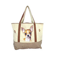 Tan Chihuahua Chihuahua Lover Cotton Canvas Large Tote Bag