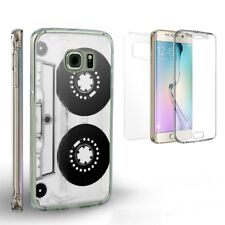 For Galaxy S6 Transparent Full Body Front Back Protector Case Cassette Tape