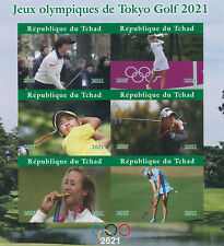 More details for chad 2021 mnh olympics stamps tokyo 2020 golf nelly korda mone inamo 6v impf m/s