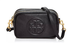 Tory Burch NEW Perry Bombe Mini Black Pebbled Leather Zipper Crossbody Bag $248