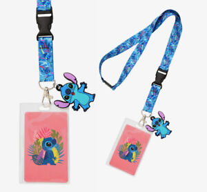 Disney Lilo & Stitch Tropical Leaves Stitch Lanyard ID Holder w/Clear ID Display