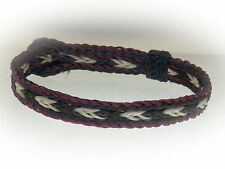 Braided Horse Hair Bracelet One Size Fits All White/Black with Maroon Border