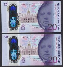 More details for 2019 bank of scotland queensferry crossing £20 consecutive 'qc' pfx pair -  unc