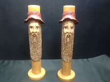 Bearded Old Man Face Tall Candle Holder Pair Country Cabin Decor