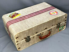 Vtg ART DECO Child's Suitcase w/ Railroad Stickers Mid-Century / Earlier Luggage