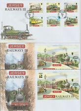 GREAT BRITAIN  7 fdc RAILWAY railroad UK IoM Jersey seven steam