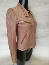 Authentic Gucci Leather Jacket Women Biker Style Sz 38 XS Cream Brown Pre-owned