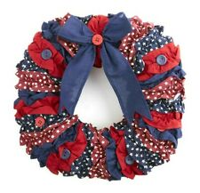 NEW!! Primitive Country Red White & Blue Patriotic Americana Fabric Flag Wreath
