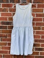 Madewell Blue Jean Denim Linen Blend Chambray Sleeveless Size 4 Small Dress