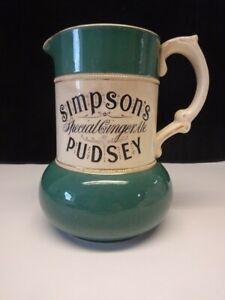 Vintage Simpson's Pudsey Advertising Jug Pitcher Ceramic Green Cream Gilt Crewe