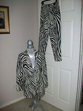 Dana Buchman Womens ZEBRA 2Piece Blazer Pants Suit Outfit Set Sz 4 P MINT