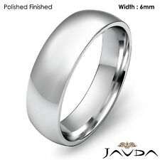 Platinum 6mm Light Weight Comfort Men Solid Wedding Band Dome Ring 11.1gm 9-9.75