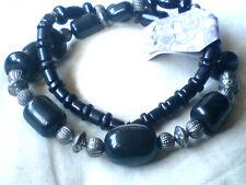 """En résine noire & argent Large Perles Déclaration Collier Long 28""""/72cm. 9.50 £ Neuf avec étiquettes"""
