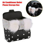 Bling Diamond Furry Car Air Conditioner Outlet Phone Storage Bag Hanging Bracket photo