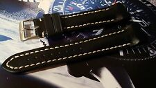 Fortis B-42 Black Leather Band-Strap with Form Fitted Ends. Fits Most B-42's
