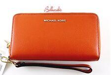 👀 NWT MICHAEL KORS Large Flat Multi Function Orange Phone Case Yellow Wristlet
