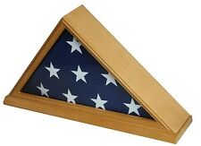 Memorial Wood Burial Flag Display Case For 5 x 9.5' Flag Oak Wood Stain NEW