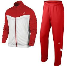 NEW! NIKE AIR JORDAN WARM UP SUIT (JACKET + PANTS) RED WHITE NWT (SIZE MEDIUM)
