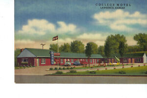 Lawrence KS College Motel AAA Vintage Postcard UNPOSTED Excellent  KU Flag