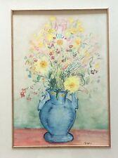 """""""fiori in vaso"""" acquerello su carta anni '80"""