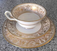 WEDGWOOD GOLD FLORENTINE TRIO PEONY CUP SAUCER & PLATE